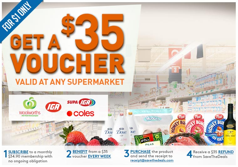$35 Voucher valid at any supermarket for $1 only